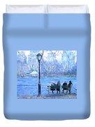 Girls At Pond In Central Park Duvet Cover