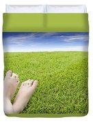 Girls Feet On Grass With Flowers Duvet Cover
