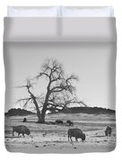 Give Me A Home Where The Buffalo Roam Bw Duvet Cover
