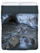 Glacial Creek Flowing From Blue Ice Duvet Cover
