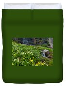 Glacier Lilies And Globeflower Beside A Mountain Stream Duvet Cover