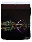 Glasgow Clyde Arc Bridge At Night Duvet Cover