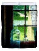 Glass Bottles On Windowsill Duvet Cover