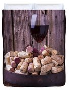Glass Of Wine With Corks Duvet Cover