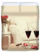 Glasses Of Red Wine Duvet Cover