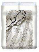 Glasses On Spreadsheet Duvet Cover