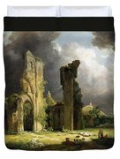 Glastonbury Abbey With The Tor Duvet Cover