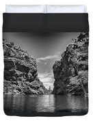 Glen Helen Gorge-outback Central Australia Black And White Duvet Cover