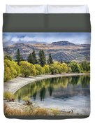 Glendhu Bay Lake Wanaka With Autumnal Trees Duvet Cover