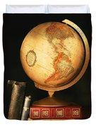 Globe And Books Duvet Cover