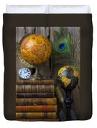 Globes And Old Books Duvet Cover