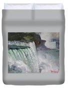 Gloomy Day At Niagara Falls Duvet Cover