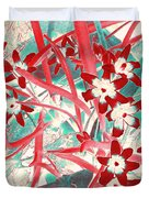 Glory Of The Snow - Red And Turquoise Duvet Cover