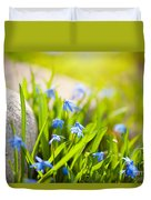 Scilla Siberica Flowerets Named Wood Squill  Duvet Cover