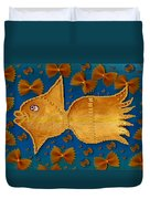 Glowing  Gold Fish Duvet Cover