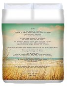 Glowing Soft Surf And Sand With Knots Poem Duvet Cover