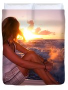 Glowing Sunrise. Greeting New Day  Duvet Cover