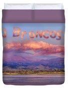 Go Broncos Colorado Front Range Longs Moon Sunrise Duvet Cover