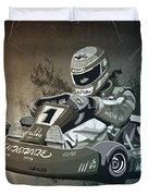 Go-kart Racing Grunge Monochrome Duvet Cover