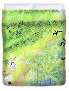 Goa, India, 1998 Oil On Paper Duvet Cover