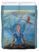 Goddess Of Golden Gate Brigde Duvet Cover
