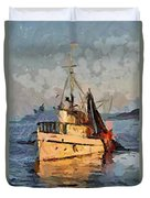 Going To Night Fishing Duvet Cover