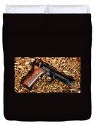 Gold 9mm Beretta With Brass Ammo Duvet Cover