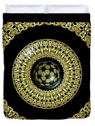 Gold And Black Stained Glass Kaleidoscope Under Glass Duvet Cover