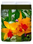 Gold And Red Orchids At Maerim Orchid Farm In Chiang Mai-thailan Duvet Cover