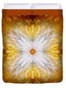 Gold And White Light Mandala Duvet Cover
