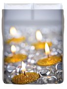 Gold Christmas Candles Duvet Cover by Elena Elisseeva