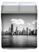 Gold Coast Skyline In Chicago Black And White Picture Duvet Cover