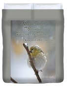Gold Finch On A Snowy Twig With Verse Duvet Cover