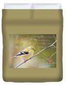 Gold Finch On Twig With Verse Duvet Cover