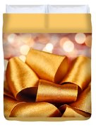 Gold Gift Bow With Festive Lights Duvet Cover