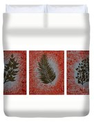 Gold Leaves On Orange Triptych Duvet Cover