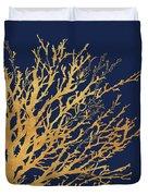 Gold Medley On Navy Duvet Cover