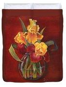 Gold N Red Iris Duvet Cover