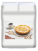 Golden Apple Tart And Coffee Cup Duvet Cover