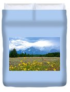 Golden Asters And Tetons From The Road In Grand Teton National Park-wyoming Duvet Cover
