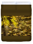 Golden Autumn Colour Foliage On Rainy Pond Duvet Cover