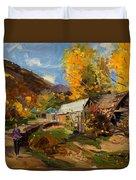 Golden Autumn In Vithkuq Korce Duvet Cover
