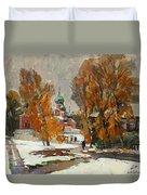 Golden Autumn Under Snow Duvet Cover