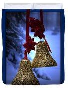 Golden Bells Blue Greeting Card Duvet Cover