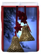 Golden Bells Red Greeting Card Duvet Cover