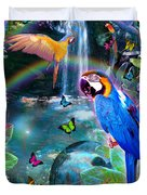 Golden Bluebirds Paradise Version 2 Duvet Cover