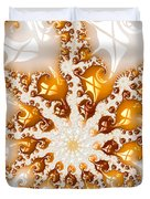 Golden Brown And White Luxe Abstract Art Duvet Cover