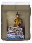 Golden Buddha On Pedestal Duvet Cover