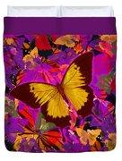 Golden Butterfly Painting Duvet Cover