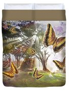 Golden Butterfly Rays Duvet Cover by Alixandra Mullins